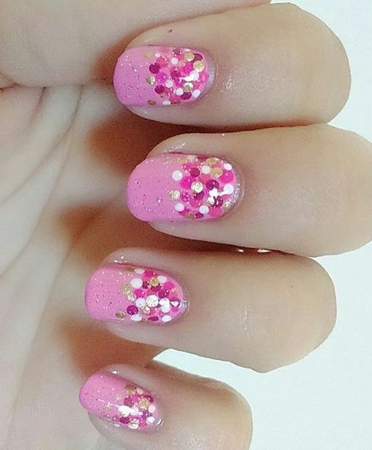 Dignified Pink Polka Dot Nails Art