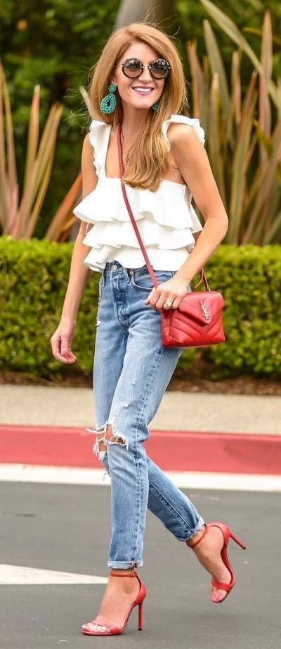 Distressed Jeans, White Ruffle Top, Red high Heels And Crossbody Bag
