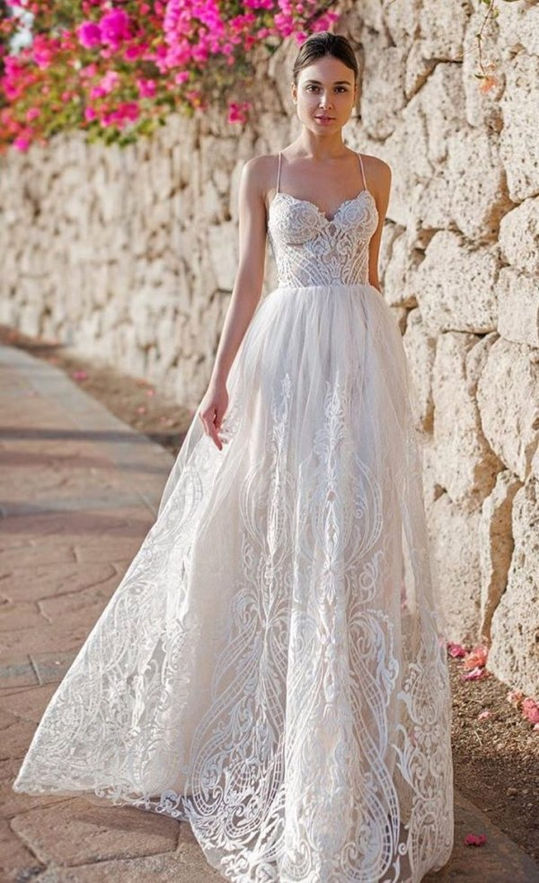 Divine And Detailed Spaghetti Strap Long Bridal Gown For Summer
