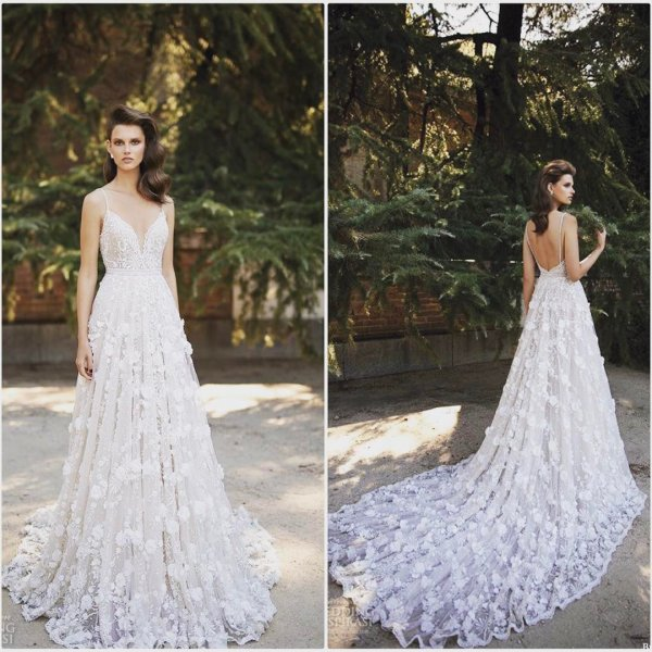 Dreamy Wedding Gown With Sweeping Trail