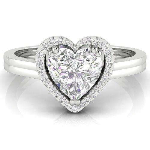 Edgy Heart Shape Diamond Engagement Ring