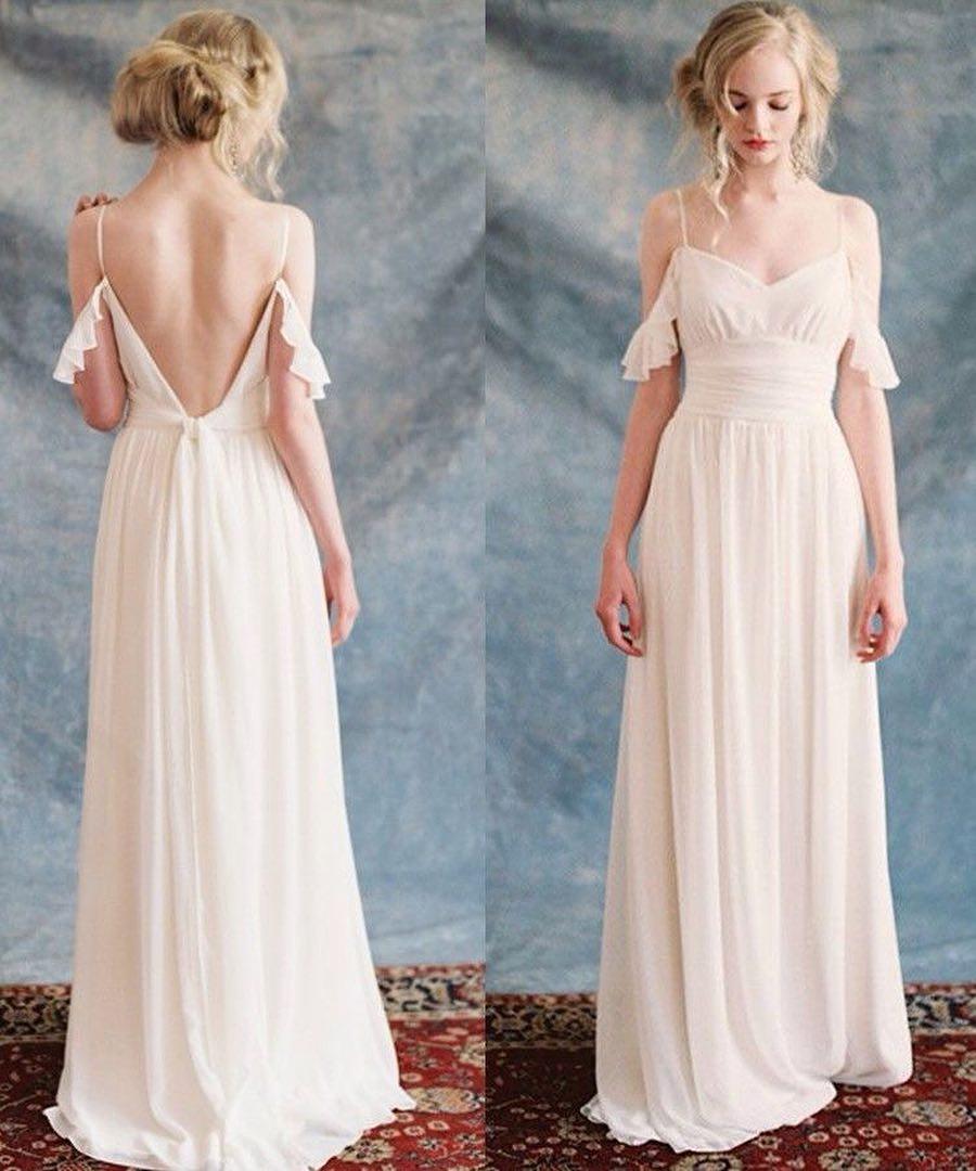 Elegant Open Back Chiffon Wedding Gown