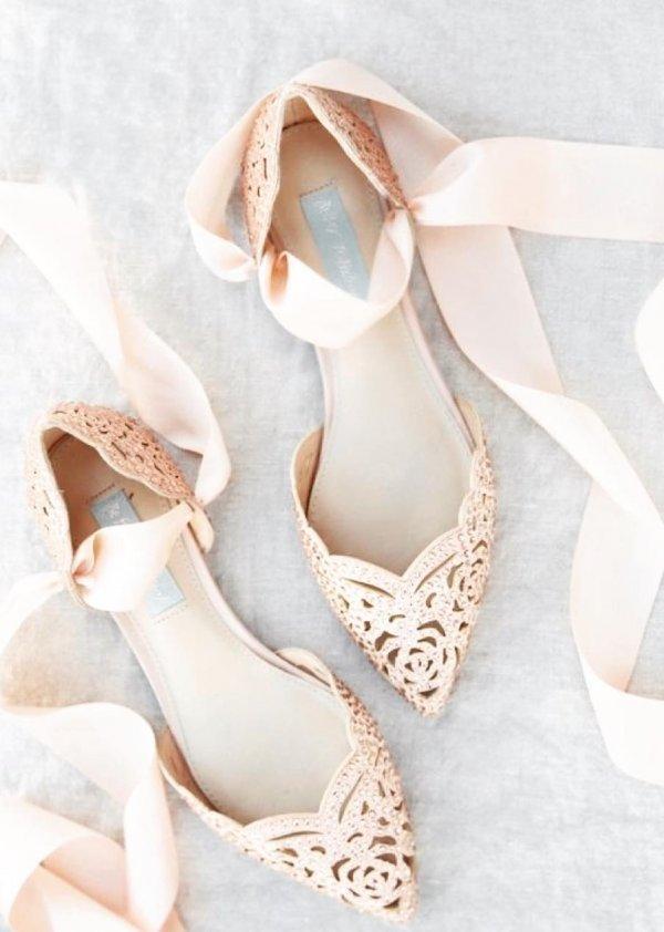 Embellished Rose Gold Wedding Bridal Shoes With Satin Strap