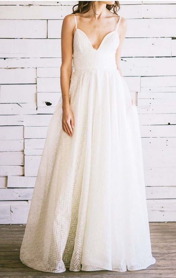 Emerging Deep V-Neck Bridal Wear