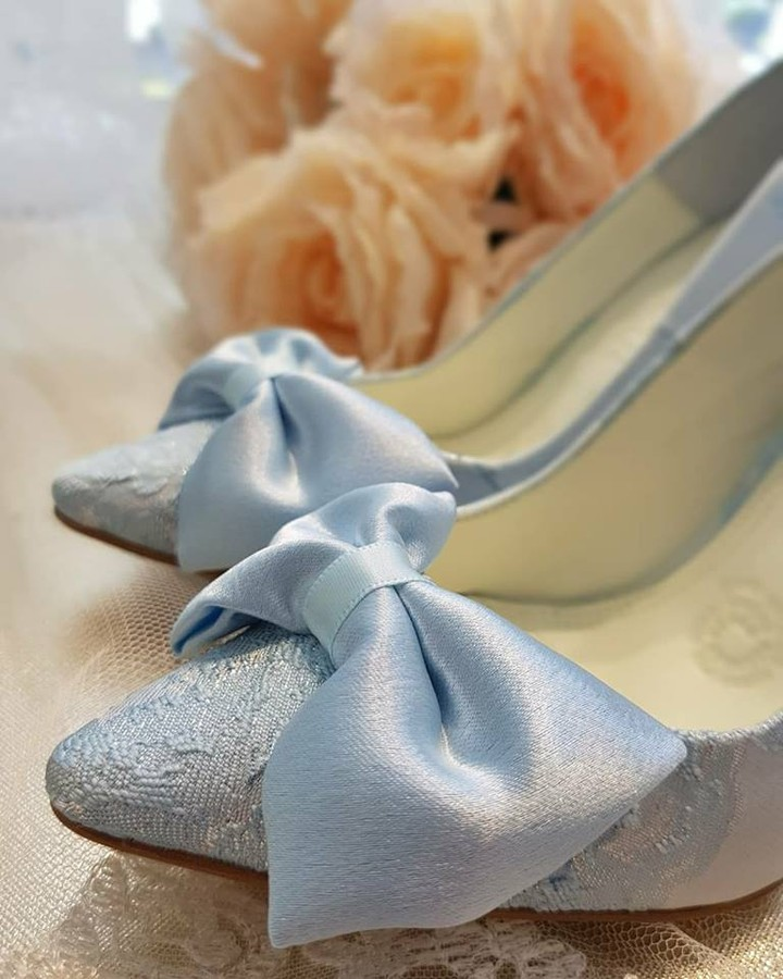 Enchantingly Beautiful Blue Lace Wedding Shoes With Satin Bow