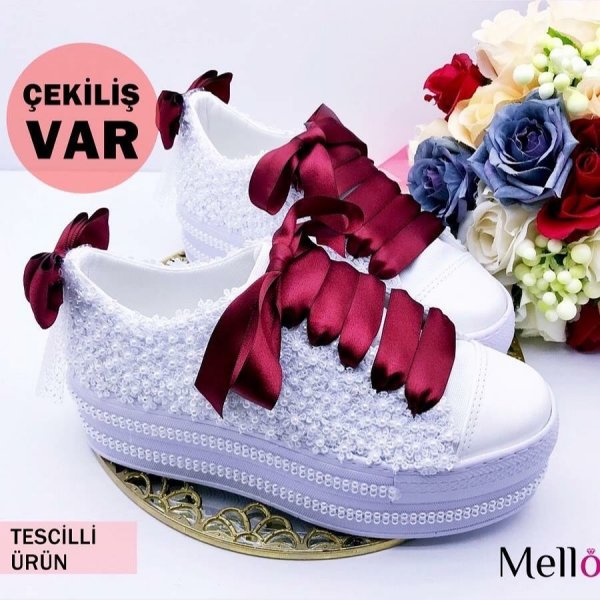 Enchantingly Beautiful Lace And Beads Wedding Shoes With Maroon Bow