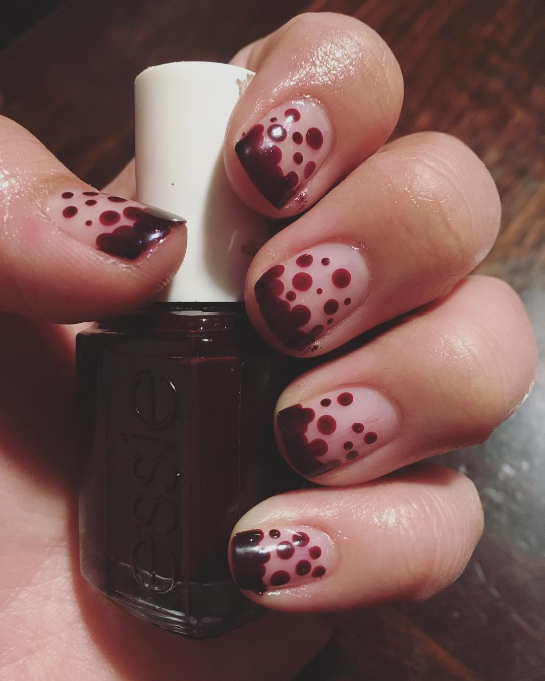 Exclusive Brown Polka Dot Nail Art Design on Transparent Nails