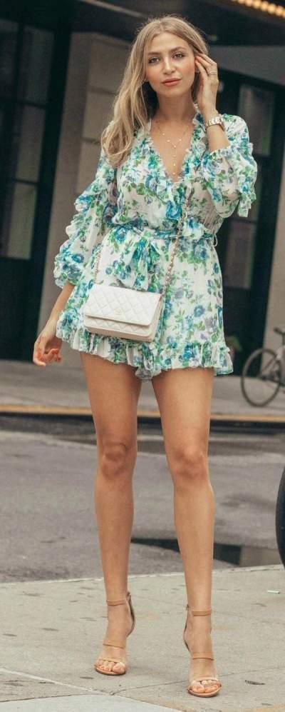 Exclusive Floral Print Romper, Beige High Heels And Crossbody Bag