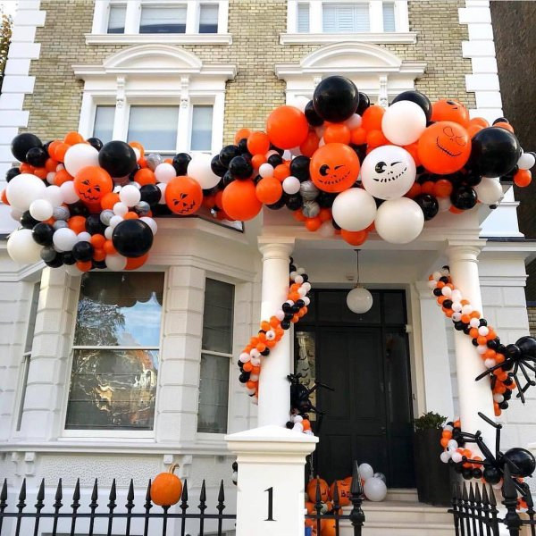 Exclusive Orange, Black And White Balloons Front Decor
