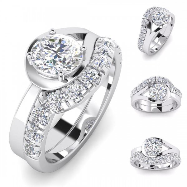 Exotic Vintage Inspired Round Cut Diamond Engagement Ring
