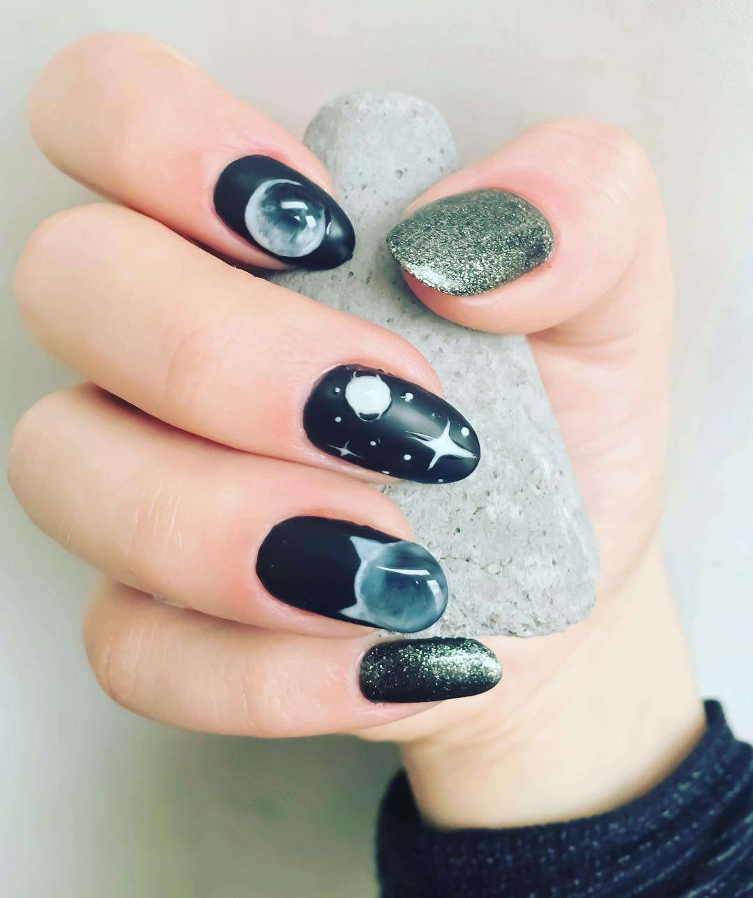 Extraordinary Moon Nails With Glitter