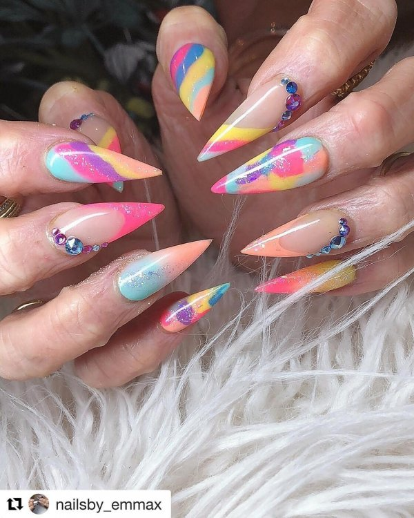 Eye-Catching Colorful Stiletto Nails