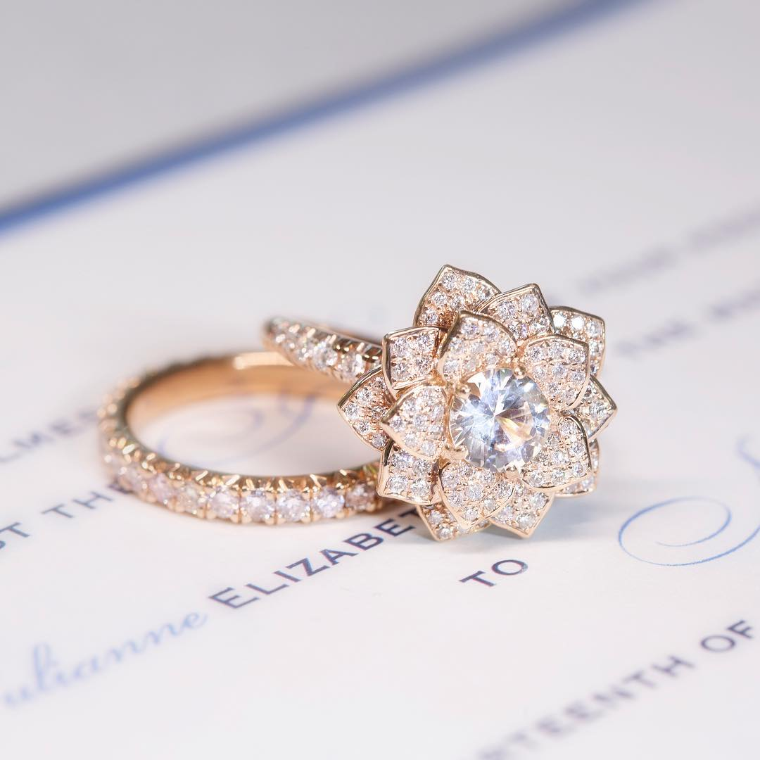 Eye-catching Flower Petals Engagement Ring With Floral Accents