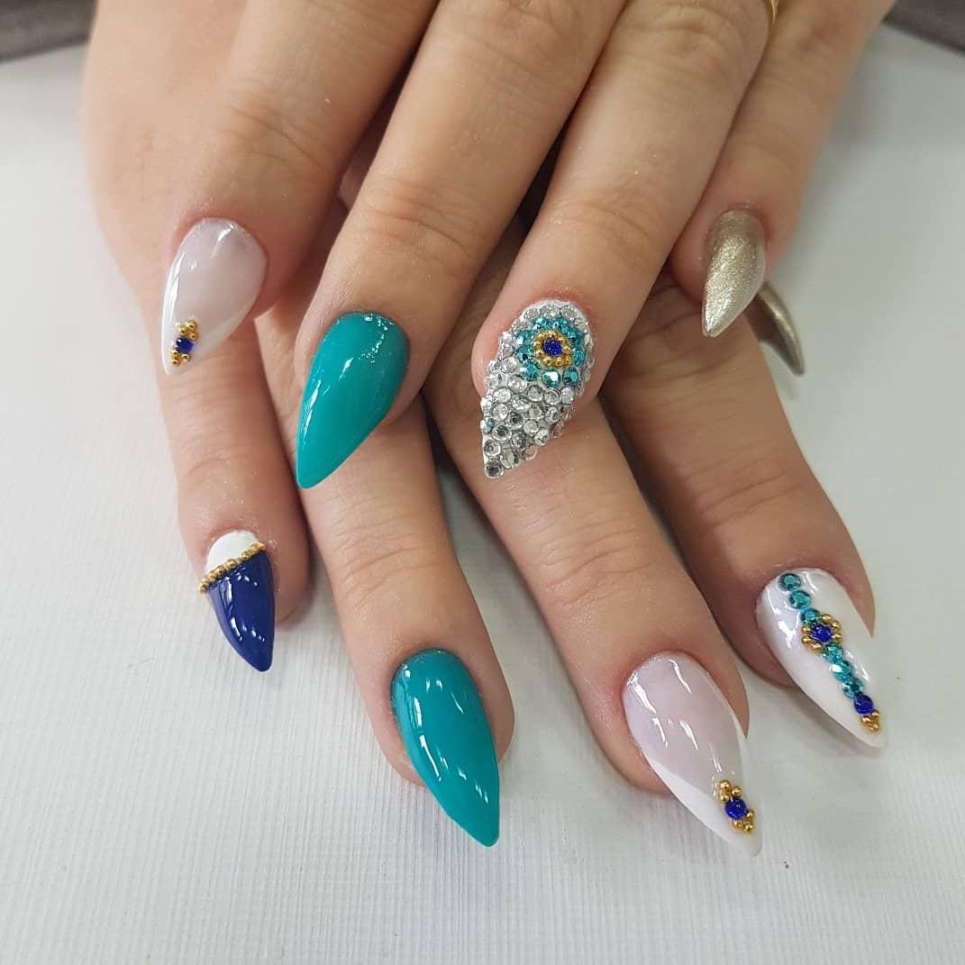 Fabulous Blue And Porcelain Stiletto Nails