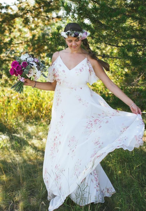Fabulous Floral Print Cotton Wedding Gown With Flower Crown