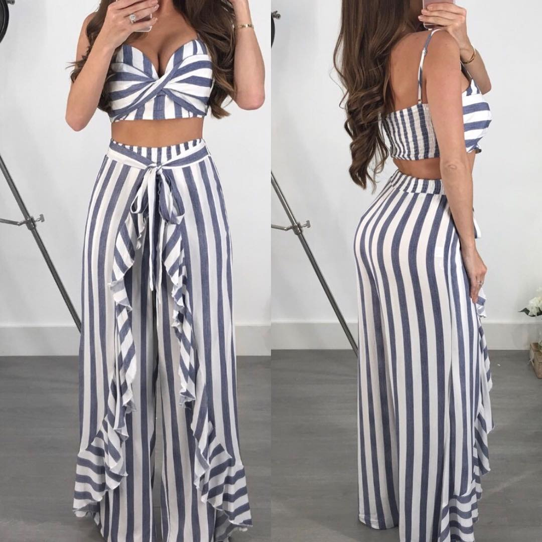 Fabulous Gray Stripes Pant Skirt With Off Shoulder Crop Top