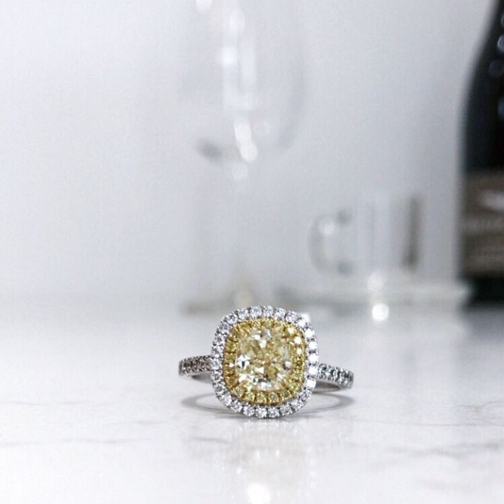Fabulous Yellow Square Cut Diamond Engagement Ring Design