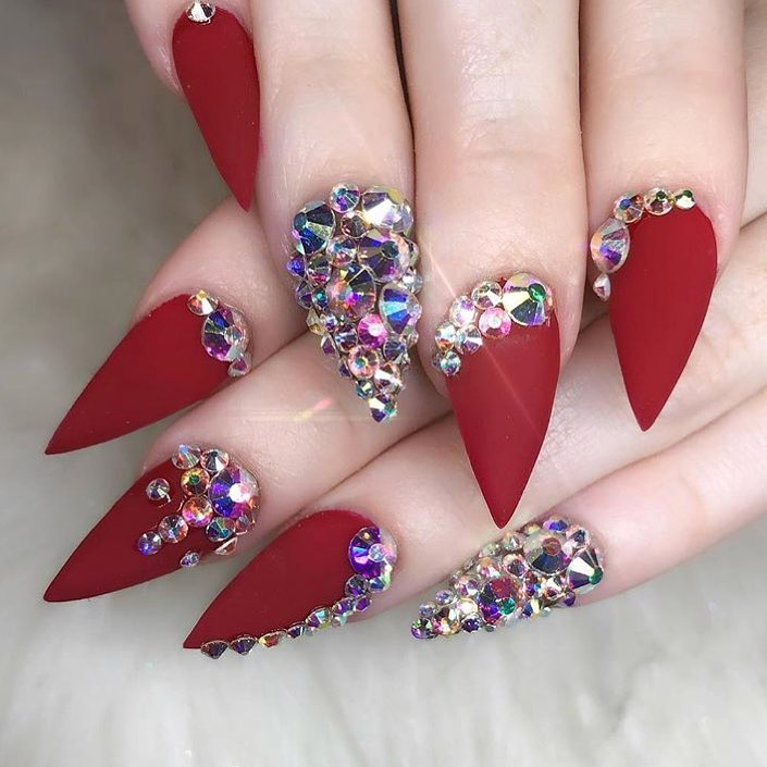 Fantastic Matte Red Stiletto Nails For Party