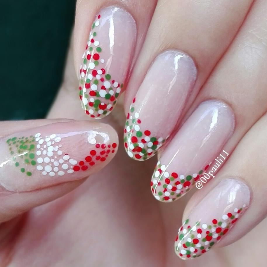 Fantastic Transparent Paint With Colorful Dot Autumn Nail Art Pattern