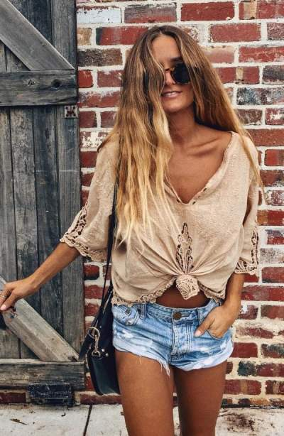 Flawless Beige Top And Denim Shorts