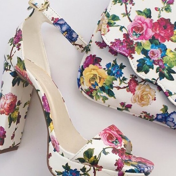 Floral Shoes With Matching Purse For Bride