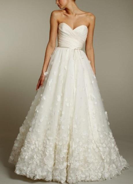 Flower Embellished White Fashion Trendy Wedding Dress