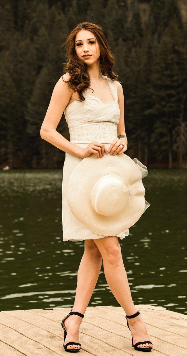 Fresh Summer Wedding Dress, Matching Hat And Black Heels For Bride