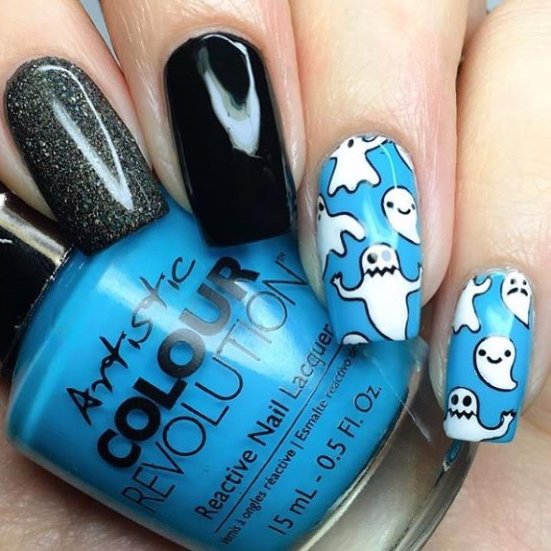 Funky Blue Nails With Monsters