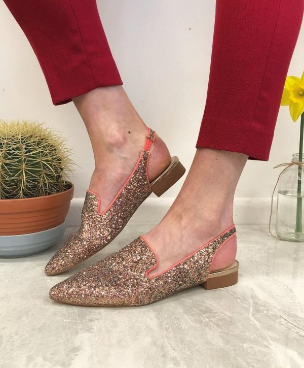 Glittery Golden Pointed Toe Flats For Bride