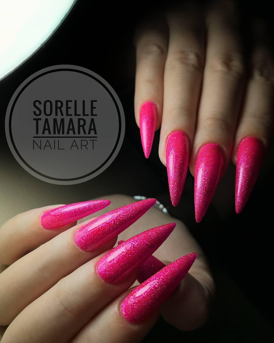 Glossy Bright Pink Stiletto Nails