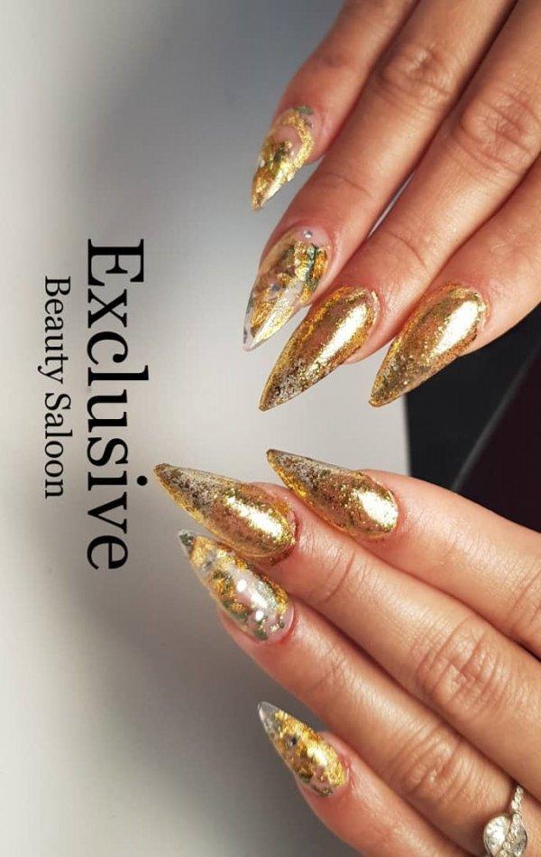 Golden Glittery Stiletto Nails