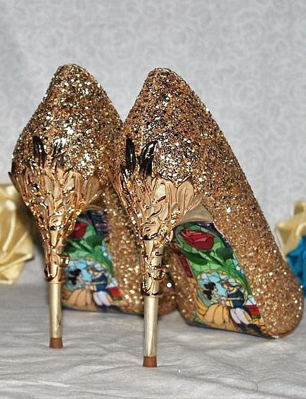 Golden Vintage Style High Heels