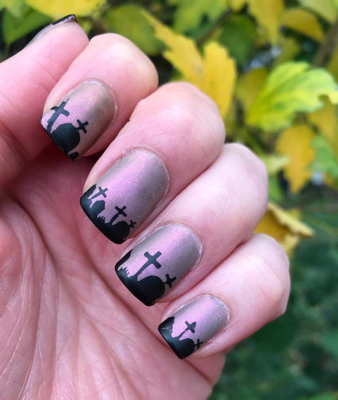 Graveyard Painted On Nails