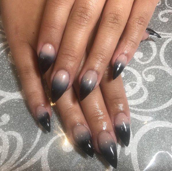 Gray And Black Ombre Stiletto Nails