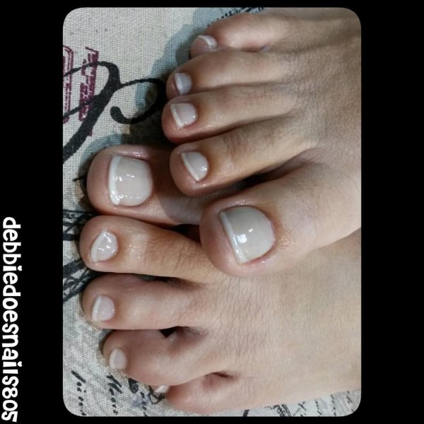 Gray Nail With White French Tips For Toes