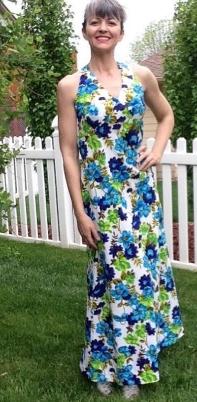 Green And Blue Flowers On Halter Neck White Maxi Dress