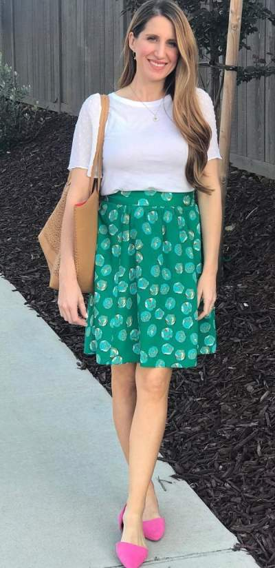 Green Skirt, White Top And Pink Flats