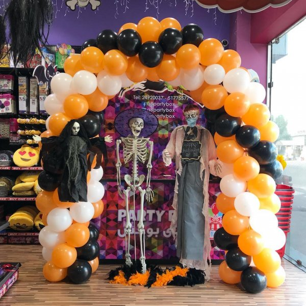 Horrific Entrance Balloon Arch With Life Size Zombie Doctor, Skeleton And Ghost Doll