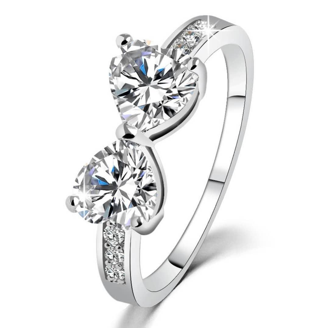 Impressive Bow Cut Diamond Design Ring For Pretty Women