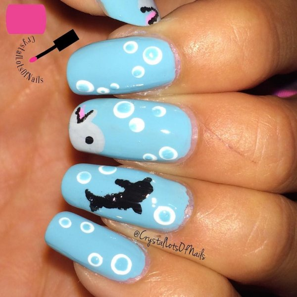 In-vogue Light Blue Dotted Nails with Dolphin