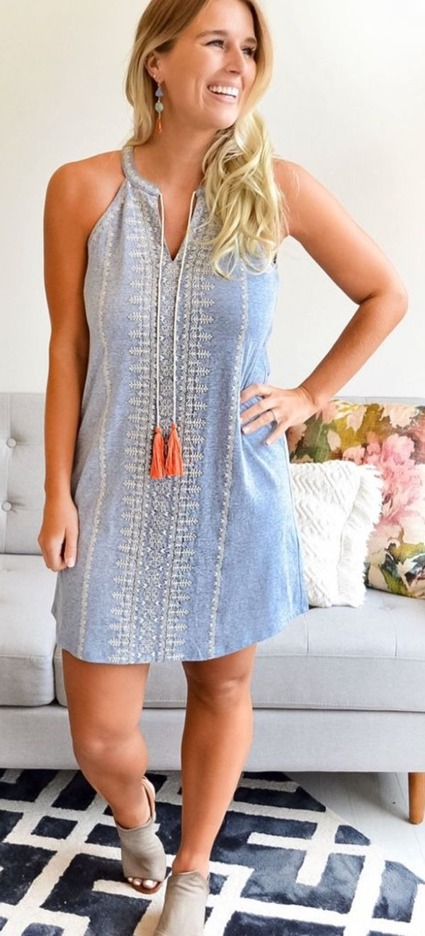 Ivory Embroidered Short Dress