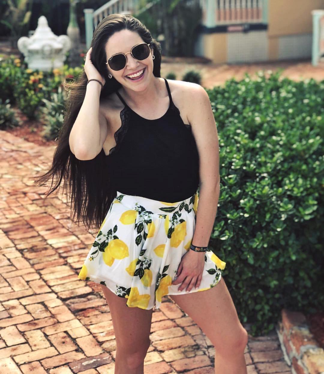Lemonade Shorts And Black O-Neck Top