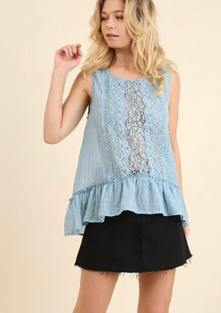 Light Blue Lace Peplum Top And Black Skirt