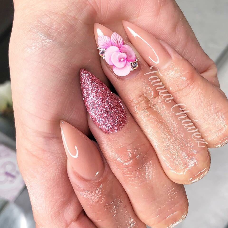 Lovely 3D Flower Pink And Nude Stiletto Nails