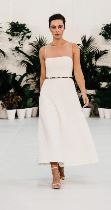 Lovely A-line Wedding Outfit With Golden Belt