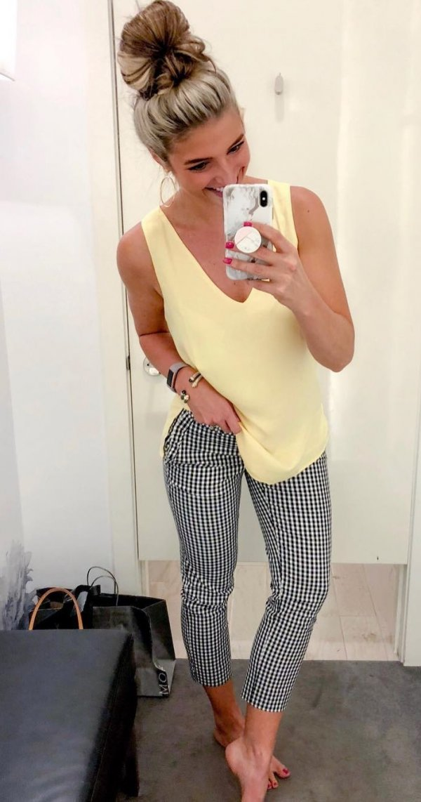 Lovely Gingham Bottom With Yellow Tank Top And High Bun