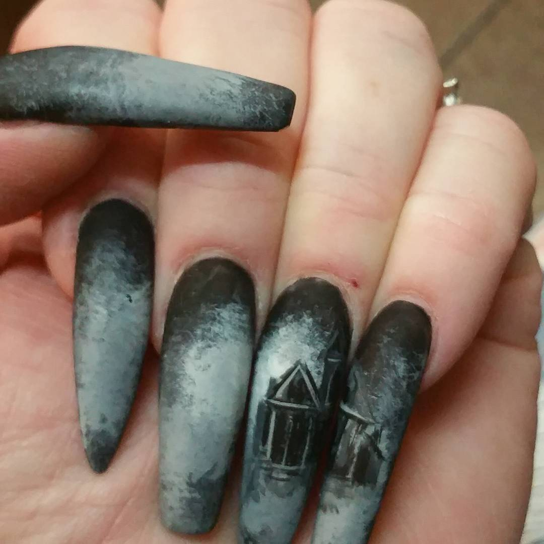 Matte Nails With Horror House