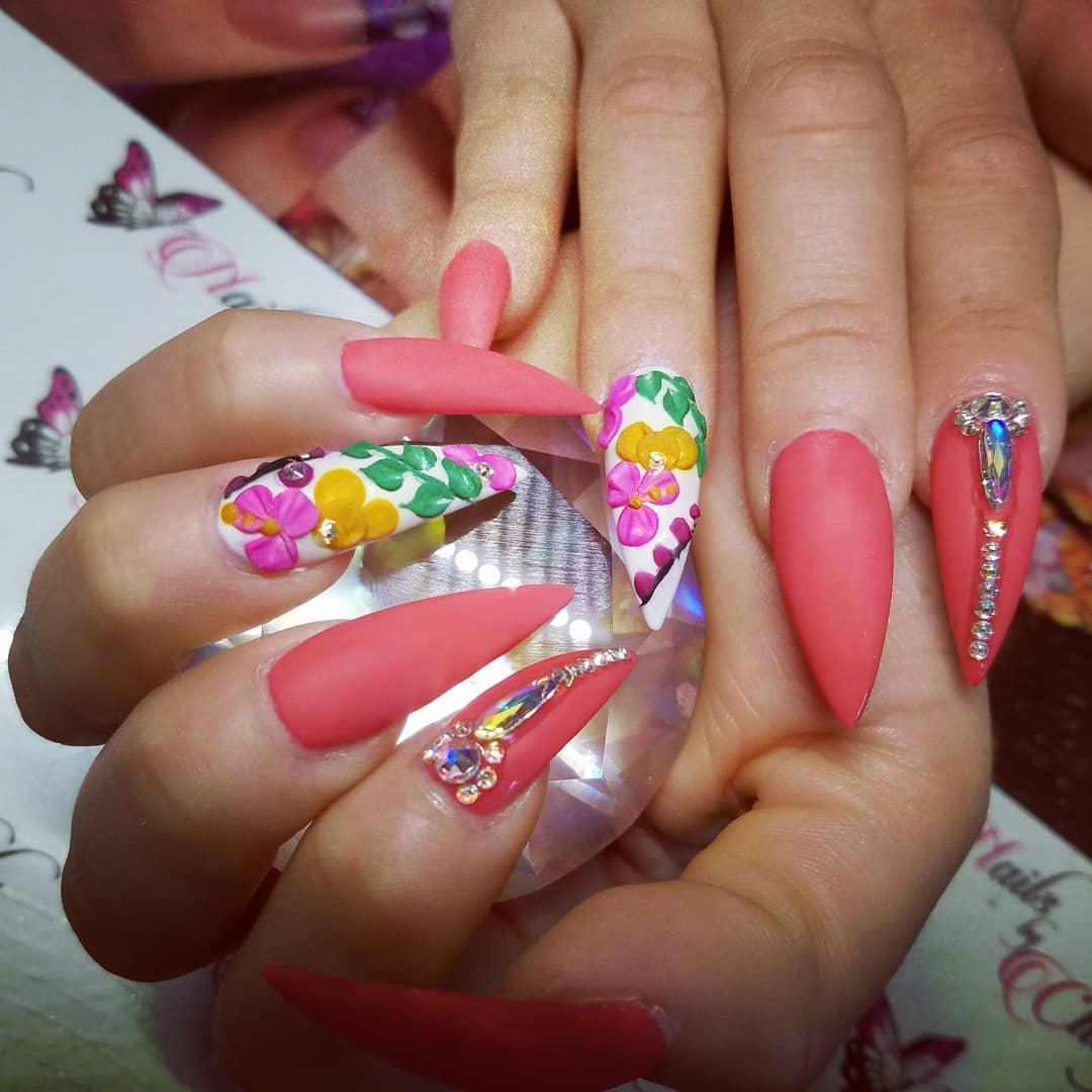 Matte Stiletto Nails With 3D Flower Decor