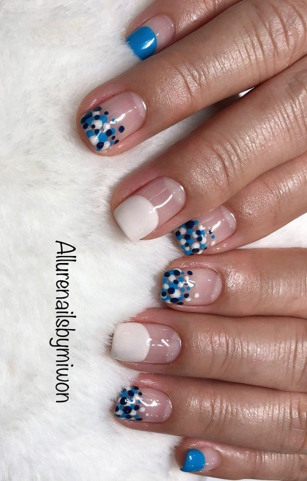 Minimalistic Nails with Dual Shades of Blue and White Dots