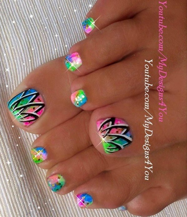 Multicoloured Neon Summer Nails With Gold Glitter